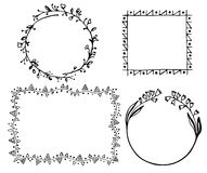 Set of 4 black frames. Floral and geometrical elements, hand-drawn Royalty Free Stock Photos