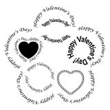 Set of vector black frames - happy valentine day Royalty Free Stock Image