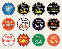Set of Black Friday Cyber Monday lable tag banner. Set of retro promotion discount sale tag banner label badge sticker ribbon Stock Photography