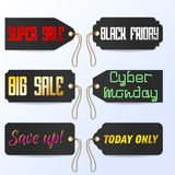Set Black Friday Cyber Monday tagline sales tags. Vector illustration Royalty Free Stock Images
