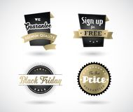 Set of Black Friday hand made simple labels with golden ribbon. Vector art Royalty Free Stock Image