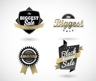 Set of Black Friday hand made simple labels with golden ribbon. Vector art Royalty Free Stock Photos