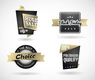 Set of Black Friday hand made simple labels with golden ribbon. Vector art Royalty Free Stock Photography