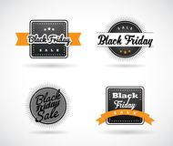 Set of Black Friday hand made simple labels with orange ribbon. Vector art Stock Photos