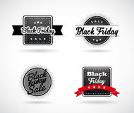 Set of Black Friday hand made simple labels. With red ribbon Royalty Free Stock Photography