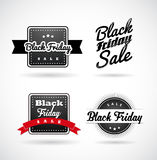 Set of Black Friday hand made simple labels. With red ribbon Stock Images