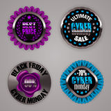 Set of black friday labels. Set of black friday cyber monday label with ribbon laurel wreath, wax stamp for design, marketing, promotion, poster, flyer, web. Tag Royalty Free Stock Photography