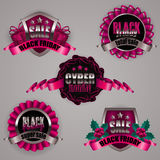 Set of black friday labels. Set of black friday cyber monday labels with ribbons holly berries gift boxes, patterns for design, marketing, promotion, poster Royalty Free Stock Image