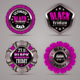 Set of black friday labels. With ribbons, bow, rope for design, marketing, promotion, poster, flyer, web. Holiday price tag, sticker with discount, ultimate Stock Photo
