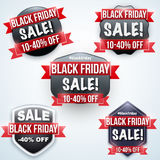 Set of Black Friday Sale badges Stock Image