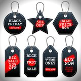 Set of Black Friday sale black tags, advertising, vector illustration Stock Photography