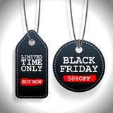 Set of Black Friday sale black tags, advertising, vector illustration Stock Photo