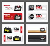Set of black friday sale shopping bag cover and web banner design template. Use for poster, flyer, discount, shopping, promotion,. Advertising stock illustration