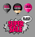 Set Black Friday Sale Stickers and Labels Fluorescent Pink Stock Photos