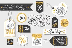 Set of Black Friday sale tags advertising vector illustration Stock Images