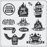 Set of Black Friday Sale tags, banners, badges, labels and design elements. Stock Photo