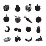 Set black fruits on a white background Royalty Free Stock Image