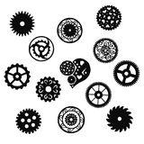 Set of black gears in the Victorian style on a white background, hand drawn. Vector Stock Photos