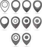 Set of 12 black geo pins. Geolocation signs set. Geolocate and navigation sign. Royalty Free Stock Photo