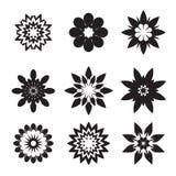 Set of black geometric flowers. And design elements royalty free illustration