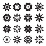 Set of black geometric flowers. Vector Illustration. Set of black geometric flowers. Vector Illustration and icons Royalty Free Stock Photo