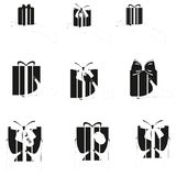 Set of black gift box in hands. Stock Photos