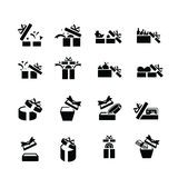 Set black gift icons, open gift box Royalty Free Stock Images
