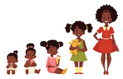 Set of black girls from newborn to infant toddler schoolboy Stock Photography