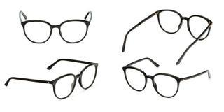 Set black glasses transparent isolated on white background. Collection fashion office eye glasses.  stock photo