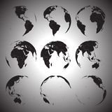 Set of black globe icons vector illustration Stock Photo