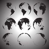 Set of black globe icons vector illustration.  Stock Photo