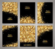 Set of Black and Gold Banners. Greeting Card or Flyers Design. Golden Dust. Vector Illustration. Happy New Year and Christmas Posters Invitation Template Stock Photo