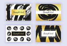Set of black and gold business card, brush stroke designs. Abstract modern backgrounds. Templates for banners, flyers, placard, po. Ster, online services, logo vector illustration