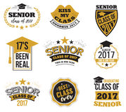 The set of black and gold colored senior text signs with the Graduation Cap, ribbon vector illustration. Class of 2017. Grunge badges on white background Stock Photos