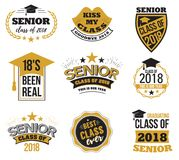 The set of black and gold colored senior text signs with the Graduation Cap, ribbon vector illustration. Class of 2018. Grunge badges on white background Stock Photos