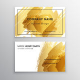 Set of Black and Gold Design Business card. Abstract Modern Backgrounds.Brush stroke Stock Photography
