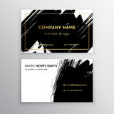 Set of Black and Gold Design Business card. Abstract Modern Backgrounds.Brush stroke Royalty Free Stock Photo
