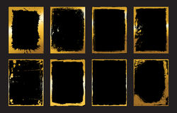 Set of Black and Gold Design Templates for Brochures, Flyers, Banners  Infographic. Abstract Modern Backgrounds. Royalty Free Stock Images