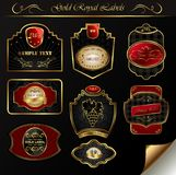 Set black gold-framed labels. Illustration set black gold-framed labels Royalty Free Stock Image