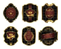 Set black gold-framed labels Royalty Free Stock Photos
