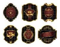 Set black gold-framed labels. Illustration set black gold-framed labels with squares mosaic texture - vector Royalty Free Stock Photos