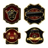 Set black gold-framed labels Royalty Free Stock Images