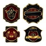 Set black gold-framed labels. Illustration set black gold-framed labels - vector Royalty Free Stock Images
