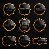 Set of black gold labels. Royalty Free Stock Photo