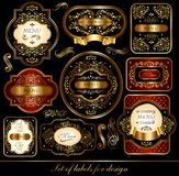 Set of black-golden labels. Ornaments on black background for decoration your projects Royalty Free Stock Image