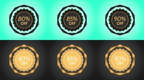 Set of Black and Golden Sale Badges. Vector Badge with Offer of Discount 80 85 90 Percent Off, surrounded by Twisted Ribbon, on the Light-blue and Black Stock Image
