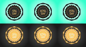 Set of Black and Golden Sale Badges. Vector Badge with Offer of Discount 5 10 15 Percent Off, surrounded by Twisted Ribbon, on the Light-blue and Black vector illustration