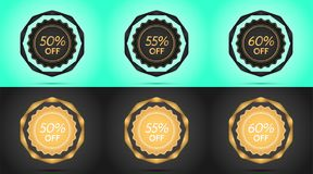 Set of Black and Golden Sale Badges. Vector Badge with Offer of Discount 50 55 60 Percent Off, surrounded by Twisted Ribbon, on the Light-blue and Black Stock Photo