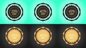 Set of Black and Golden Sale Badges. Vector Badge with Offer of Discount 35 40 45 Percent Off, surrounded by Twisted Ribbon, on the Light-blue and Black Royalty Free Stock Photography