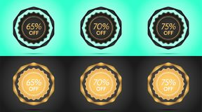 Set of Black and Golden Sale Badges. Vector Badge with Offer of Discount 65 70 75 Percent Off, surrounded by Twisted Ribbon, on the Light-blue and Black Stock Photos